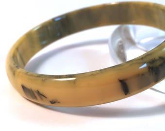 "Vintage Bakelite Bangle - Muted Golden Yellow and Black Inkspot Polished Catalin Bakelite Bracelet 7/16"""