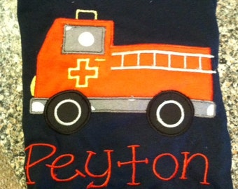 Firetruck Applique Shirt with Embroidered Name
