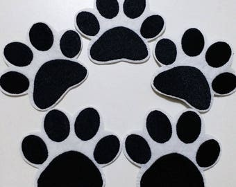 10pcs Paw Patrol Dog Paw Iron On Embroidered Patches Appliques Machine Embroidery Needlecraft Sewing Clothes