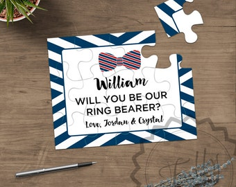 Ring Bearer Puzzle Invitation, Personalized Ring Bearer Gift Puzzle, Wedding Invitation Asking Ring Boy Proposal Ring Bearer Invitation Card