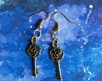 Floral Skeleton Key Earrings