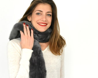 Rex Rabbit Fur Scarf, Real Fur Scarf, Womens Scarves, Neck Warmer, Gray Fur Scarf, Gift for Her, Fur Collar, Winter Scarf, Warm Scarf