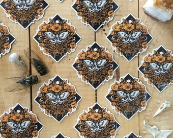 NEW* Polyphemus Moth and California Poppies, Original Illustration, Sticker