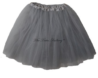 GREY TUTU . Girls to Adult Plus Size Tutu . Adult Tutu . Ballet Tutu . Dance Skirt . LLONG Length up to 16in