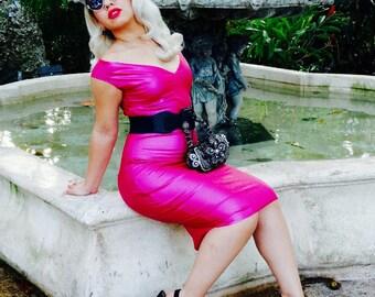 Hot Pink Latex Bombshell Wiggle Dress