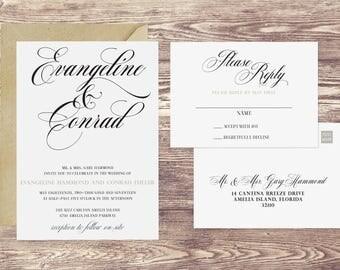 The Amelia Wedding Invitation and Postcard RSVP Set, Formal Wedding Invitations, Invitations for a Formal Wedding, Elegant Invitations