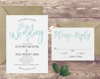 The Watercolor Wedding Invitation and RSVP Set, Turquoise Wedding Invitation, Watercolor Wedding Invite, Customized Aqua Blue Wedding Invite
