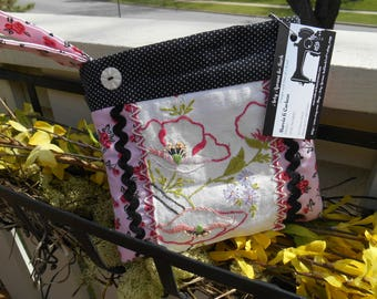 Upcycled Cosmetic Bag, Repurposed Embroidered Linen, Floral, Pink, Blue, Black