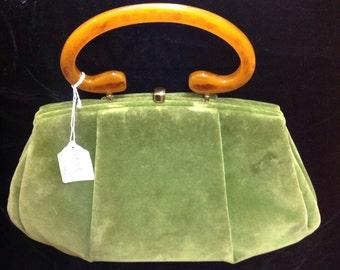 50s purse velvet moss green with tortoise handle