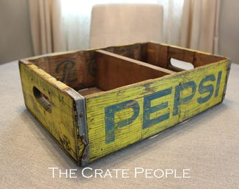FREE SHIPPING - Yellow/Blue Lettering PEPSI Soda Crate with 1 divider | Vintage Soda Crate | Soda Pop Crate | Vintage Pepsi Crate