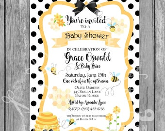 Bumblebee Invitation / Yellow and Black / Gender Neutral / Black Polka Dots / Bee Invitation / Baby Shower Invitation / Welcome Baby Invite