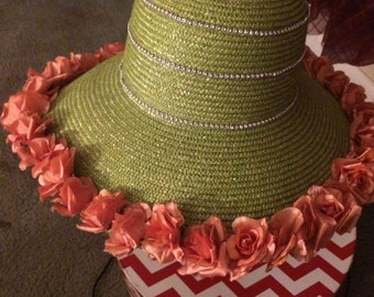Big Sale--Salmon Pink and Green Brim Hat