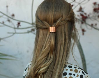 Metal hair cuff - size small copper ponytail holder rustic hair accessories silver pony tail tie boho chic shiny brass hair slide for her