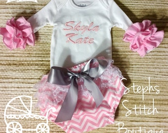 Monogrammed Ruffled Onesie with Ruffled Diaper Cover