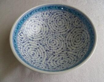 "Turkish Ceramic Bowl, 10""  bowl, Serving bowl, Golden Horn,  blue and white bowl,  decorative bowl, fruit bowl, wedding present, birthday"