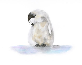 Penguin Wall Art, Baby Room Decor, Baby Penguin, Animal Art, Watercolor Print, Penguin Art Print, Blue, Purple, Penguin Nursery - 11x14