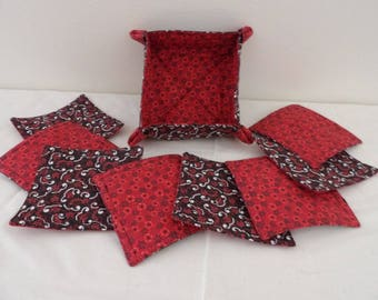 Fabric Coaster Set with Basket