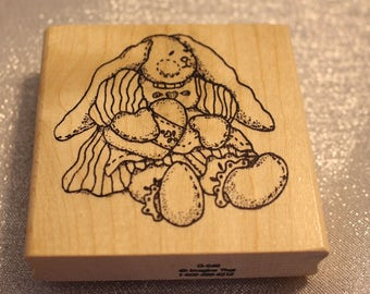 Tole Bunny Rubber Stamp by Imagine That Used, Country Bunny Stamp, Rabbit stamp, Easter Bunny Stamp, Easter STamp, Girl Easter Scrapbook