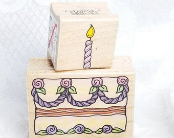 Birthday Cake Rubber Stamp, Candle rubber Stamp, Hero Arts, Cake Stamp Birthday Stamp Birthday Card Scrapbook Wedding Cake, Candle Stamp