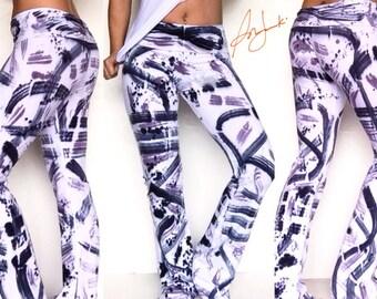 Cotton leggings, Tie Dye, Long Leggings, Graffiti Stretch Pants, Full length Yoga Exercise Pant, Fold Over Waist, Flared leg, Tights, Gym