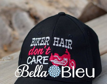 Baseball Hat Cap Embroidery Design, Biker Hair don't Care Machine Embroidery Design, Motorcycle Embroidery design