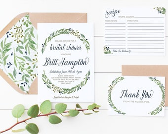 Green Floral Wedding Bridal Shower Invitation Printed or Print Yourself Digital