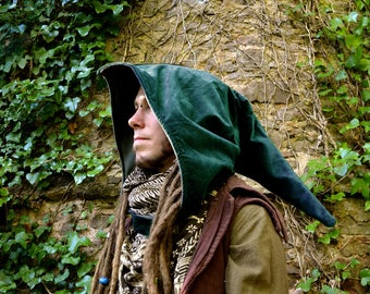 Green Elven Hood in Corduroy with Fleece or Cotton Lining. Elven, Mystical, Magic, Fairy, Witch, Wizard, Cosplay, LOTR, Assassins Creed