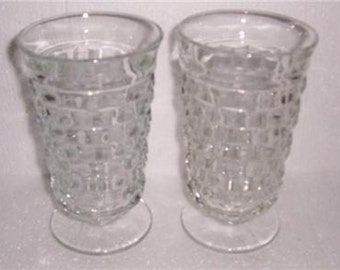 Vintage (2) Indiana American Whitehall Clear Color Large Tall Water Glasses