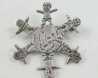 World Peace ~ Cute Silver Sterling Children of the World Brooch Pin- as it is