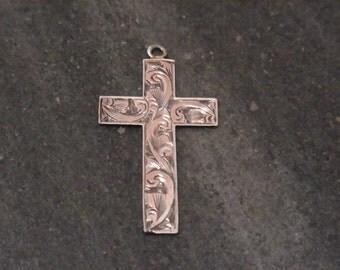 FREE SHIPPING Antique Silver Cross Circa 1900s.  English Sterling Silver Religious Pendant.  Christian.