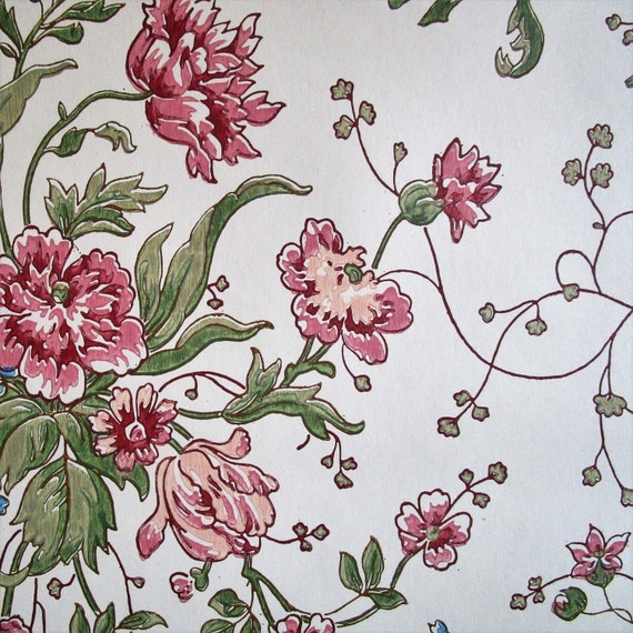 Vintage 1980s Floral Wallpaper NOS Cream Pink Rose Vinyl ...