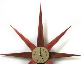 Mid Century Starburst Clock, Handmade Mid Century Modern Home Wall Decor, Australian Jarrah Wood Starburst Clock, Sun Burst Clock