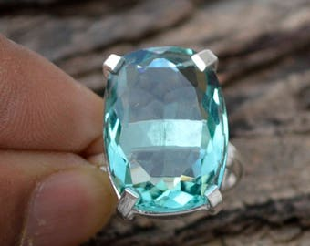 Apatite Quartz Ring, Cushion Cut Apatite Ring, 925 Sterling Silver Ring, Quartz Gift Ring, Prong Set Apatite Quartz Ring, Quartz Ring