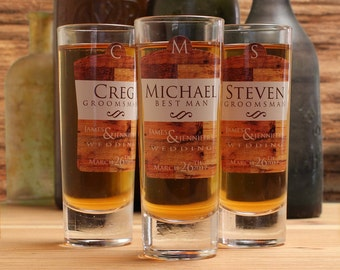 Shot Glasses Wedding, Set of 2, Personalized Shot Glasses, Rustic Wedding, Outdoor Wedding, Groomsmen Gifts