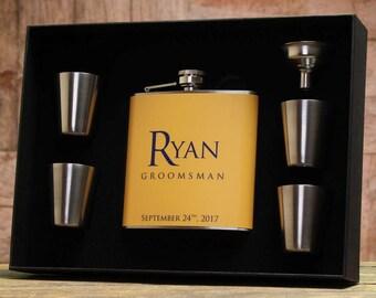 Yellow Wedding, Groomsman Gift, Personalized Flask