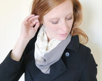 Gray Scarf-Infinity Scarf-Silk Scarf-Scarves for Winter-Scarves for Fall-Silk Scarves-Infinity Scarves-Fall Scarf-Fall Scarves-Gift for My