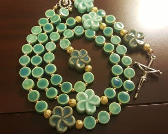 Ceramic Turquoise/Green colored Floral rosary