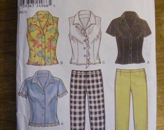 Princess Seam Blouse and Pants Uncut New Look Sewing Pattern 6079 Size 8 10 12 14 16 18