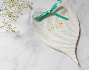Engagement ring dish, wedding ring holder, ring bearer bowl, wedding initials dish, engagement gift, ring holder, personalized holder,
