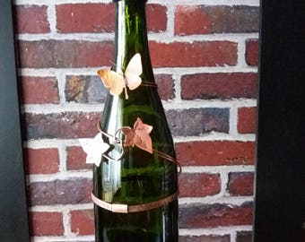Wine Bottle Incense Stick Burner, Ivy and Butterfly 2, OOAK by Copper illuminate.