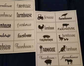 20 Farmhouse Labels Printed on Fabric