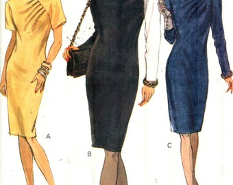 """VOGUE 7914, Sz 8-12/Bust 31.5-34"""". Very Easy Vogue Day-to-Evening Dress w/ pleated drape neckline & long/short sleeves, UNCUT Misses pattern"""
