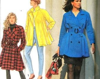"Simplicity 7627, Sz 18-24/Bust 40-46"". Plus Size Pencil Skirt and Rain Coat/Trench Coat/Swing Coat, UNCUT 90s Misses sewing pattern"