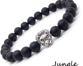 Stretch bracelet with Black matte Onyx 8mm and Lion silver plated - Jungle bracelet couple