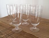 Set of 4 Vintage Etched Glass Water Iced Tea Wine Cocktail Glasses