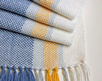 Handwoven Table Runner, Yellow and Blue Striped Table Runner, Farmhouse Style Runner, Spring Table Runner, Rustic Style, Woven Table Decor