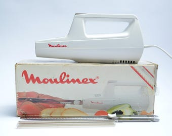 vintage ELECTRIC KNIFE by MOULINEX / 80s / made in France / with original box