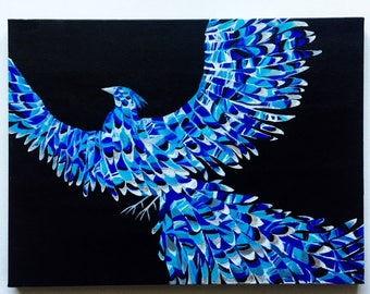 Ice Phoenix Hand-embellished Print on Canvas of an Original Acrylic Painting by Ashley Baldwin!