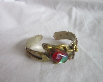 Vintage Ultra Retro Steam Punk Cuff Bracelet with Art Glass