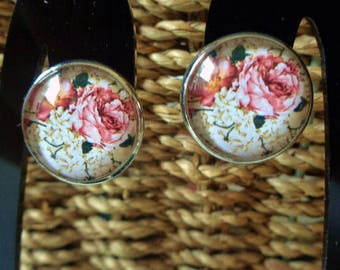 Victorian Floral Cabochon Clip on Earrings